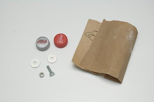 bottle cap tripod - materials
