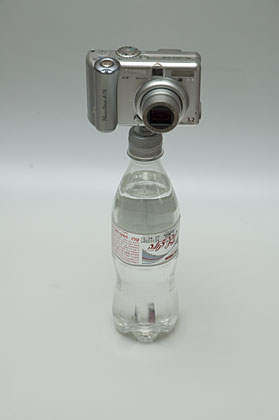 bottle cap tripod - with camera