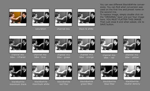 Black & White Cheatsheet For Photoshop