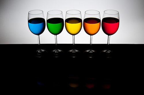 Playing with food color - 5 glasses back light only