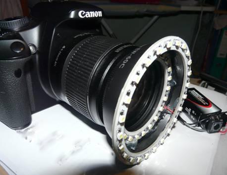 LED ring light on Lens