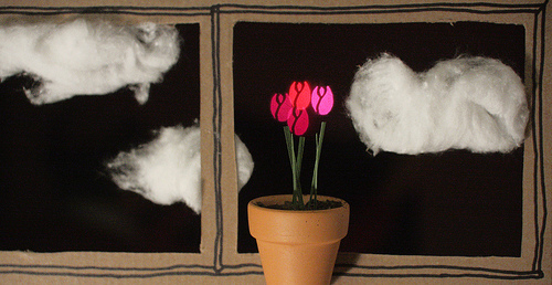 Tiny tulips and cotton clouds