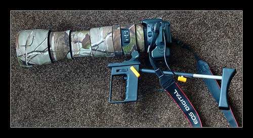 Sigma 150-500mm OS fitted to converted Kaiser shoulder pod