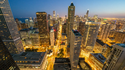 A Creative Time Lapse Showing The Cityscape Of Chicago