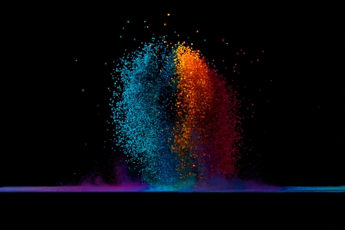 Capturing Colored Salt Thrown By Speaker Sound