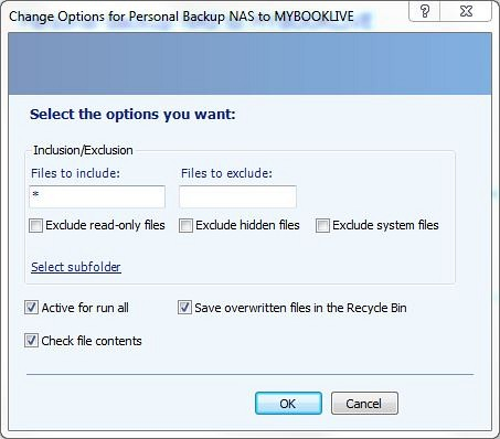 microsoft synctoy how to setup copy options