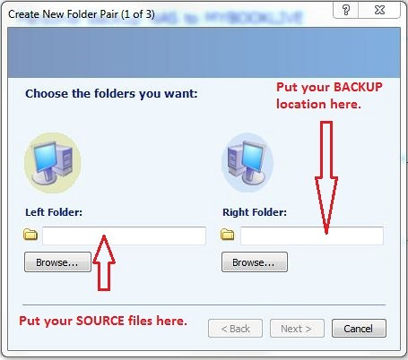 microsoft synctoy how to create folder pairs