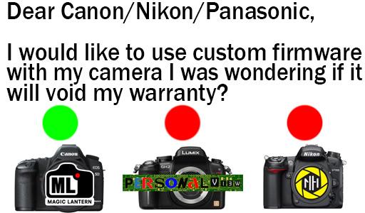 Dear Canon/Nikon/Panasonic Can I Use Custom Firmware With My Camera?