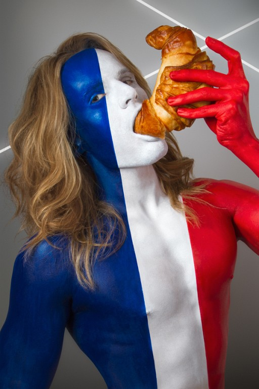 Models Eating National Foods While Body Painted In National Flags [NSFW]