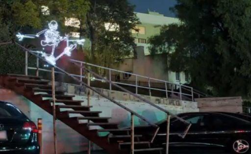 Light Goes On Light Animates A Skateboarding, Breakdancing Skeleton