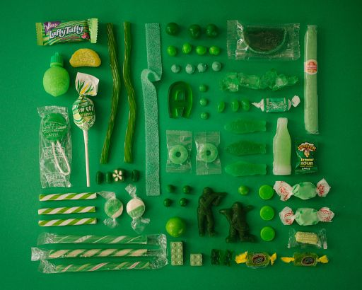 Photos of Neatly Arranged Color-Coded Candies [NSFK]