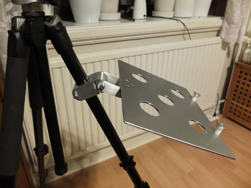 DIY tray attached to leg of Manfrotto tripod