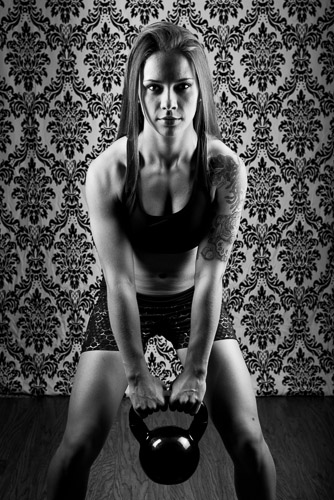 black and white dramatic fitness model stock photo