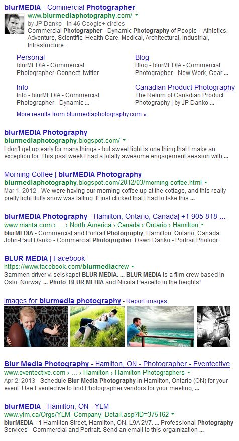 JP Danko Google Search for blurMEDIA Toronto Commercial Photographer