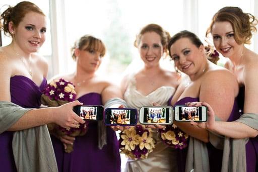 Ancaster Mill Wedding Photography Wedding Party with Smart Phones Hamilton Wedding Photographer JP Danko blurMEDIA