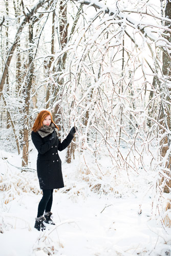 woman outdoors in ice and snow in winter in fur hat lifestyle portrait jp danko toronto commercial photographer