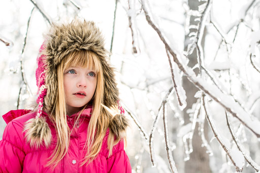 Little girl with fur hat toque in the snow lifestyle portrait jp danko toronto commercial photographer