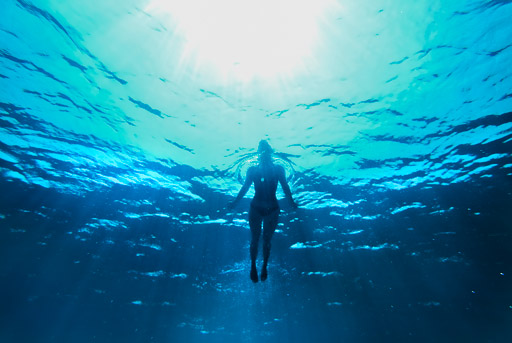 Underwater photography of woman in clear blue water