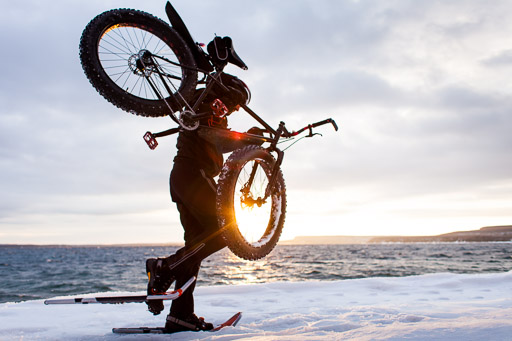 Fat Bike in Snow Snowshoeing Winter Extreme Sports Photography Toronto Commercial Photographer JP Danko blurMEDIA