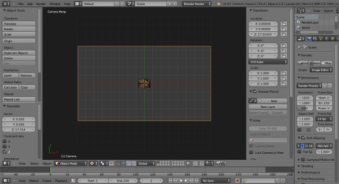 Blender Camera Setup Z Move