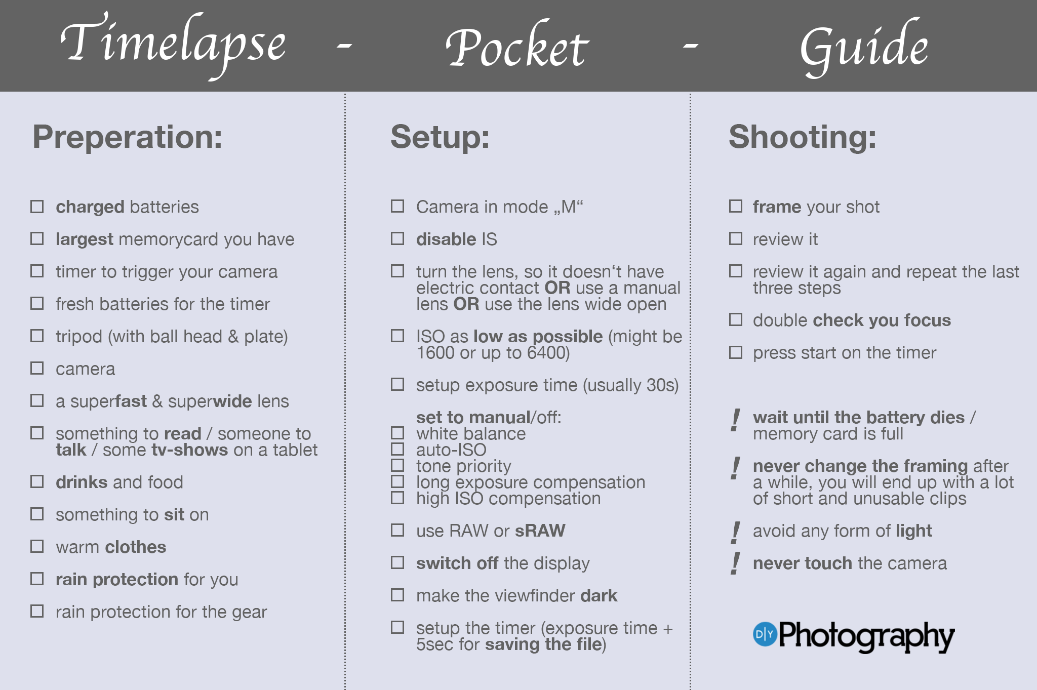 A Complete Checklist For Shooting Night-Time Time-Lapse Sequences - DIY Photography
