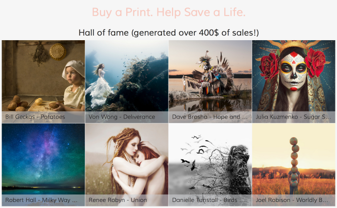 """buy a print – help safe a live""  - SmugMug's ""Hall of fame"""
