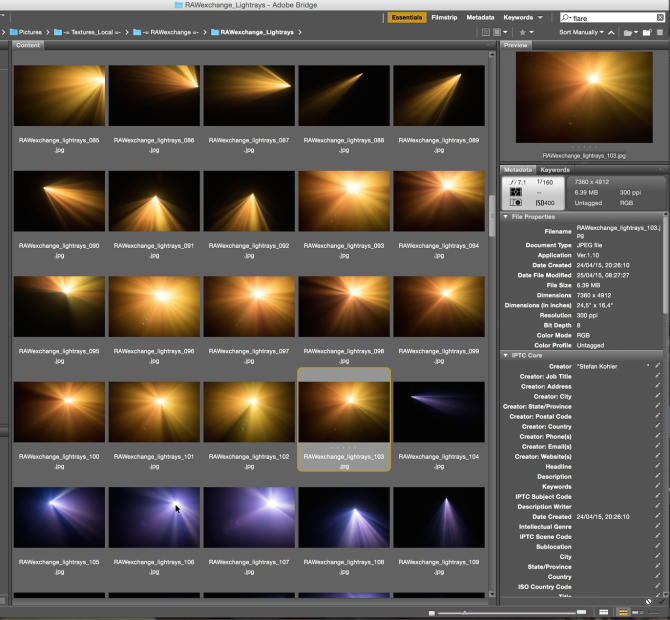 Different flares and rays to pick from