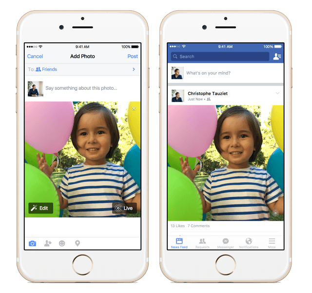Facebook rolling out Live Photos support for its iOS app