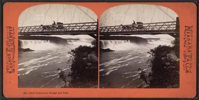 Stereoscopic image titled 'New suspension bridge and falls.'