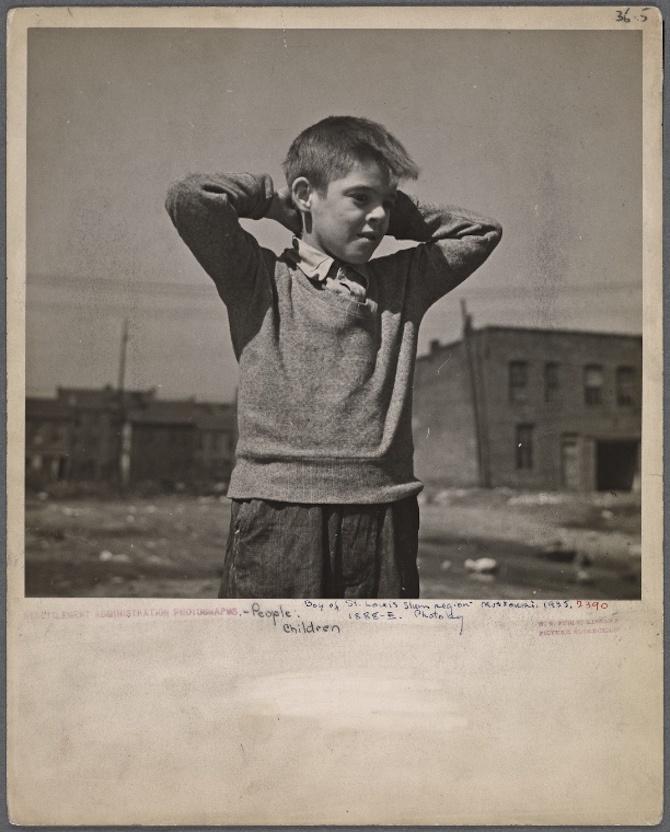 Boy of the St. Louis slum district, Missouri. 1936.