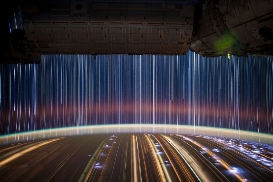 This is what star trails look like when shot from the International Space Station