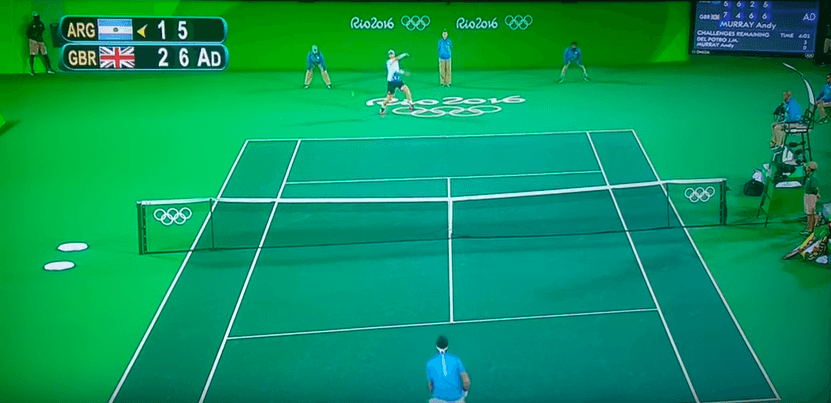 The Olympic tennis court is a giant green screen and the Internet has noticed