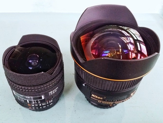 Nikon 16mm f/2.8 fisheye (left) vs Nikon 14mm f/2.8 (right)