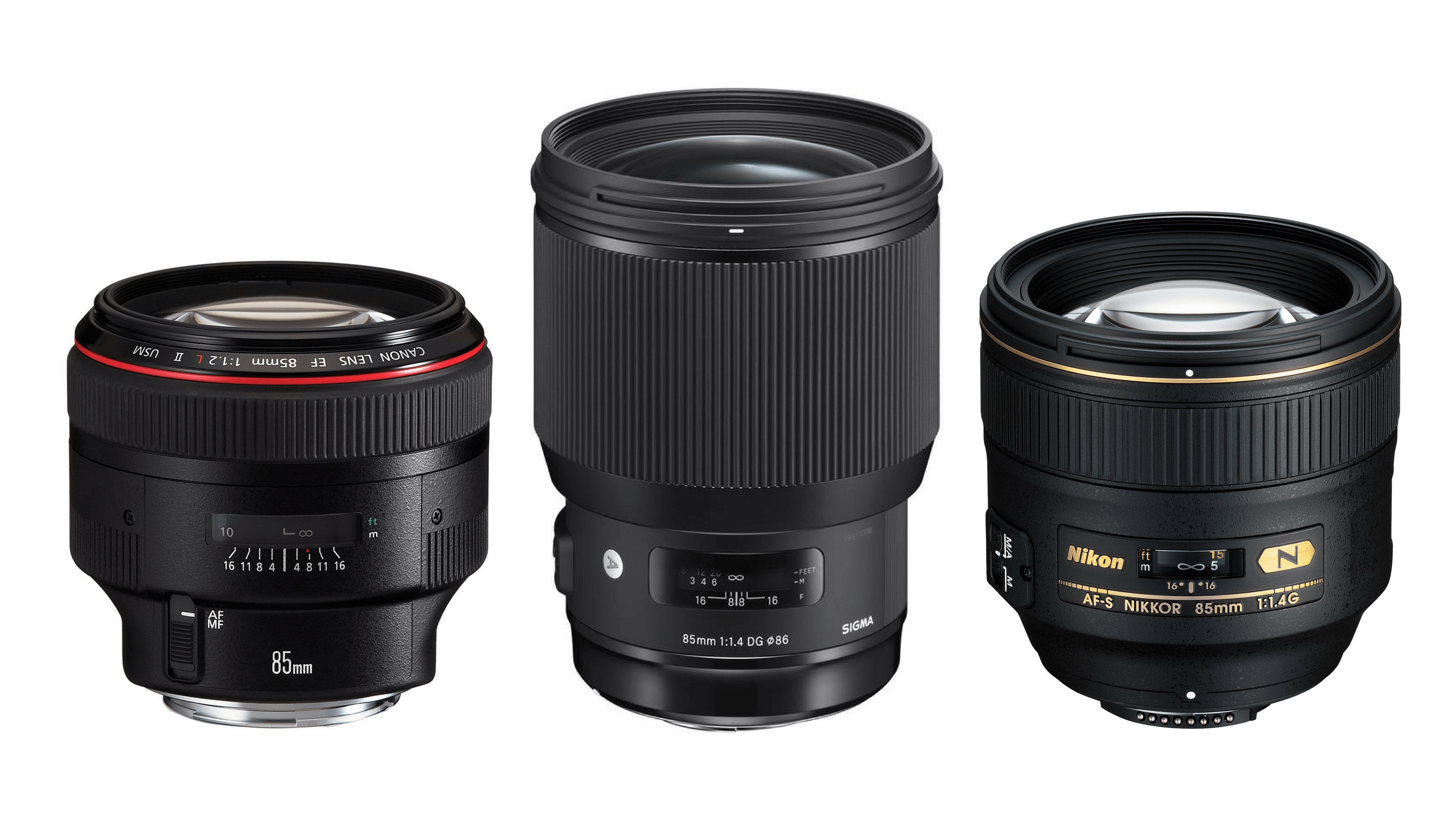 Relative size difference. The Canon 85mm f/1.2L II, left. The Nikon AF-S Nikkor 85mm f/1.4G, right. Sigma 85mm 85mm f/1.4 | Art lens, center