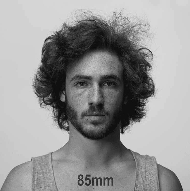 This gif explains how changing focal length impacts a portrait