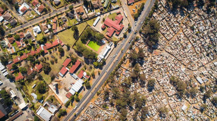 Dramatic drone photos show a difference between the rich and the poor