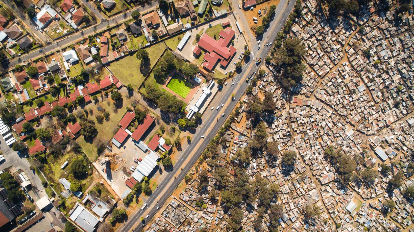 dramatic drone photos show a difference between the rich and the