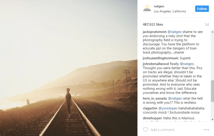 National Geographic posts photo on train tracks