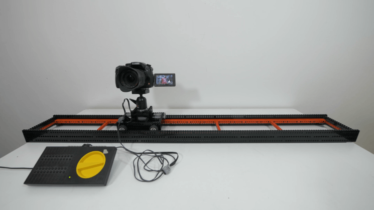 This camera slider was made out of Lego bricks