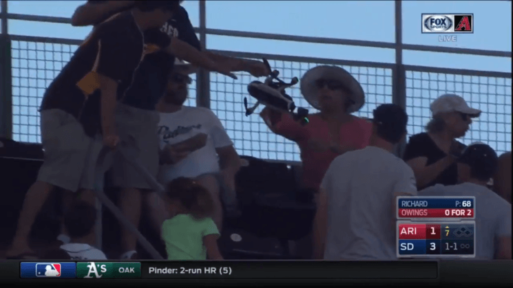 Drone crashes in the audience during major league baseball game