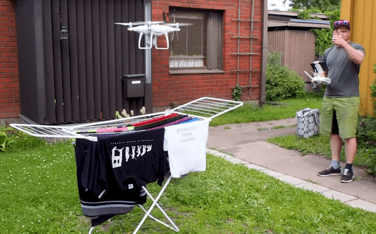 This couple uses a Phantom 4 Pro to quickly dry their laundry